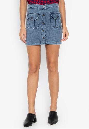 cf71f7777b8 Shop Folded & Hung Button Up Denim Skirt Online on ZALORA Philippines