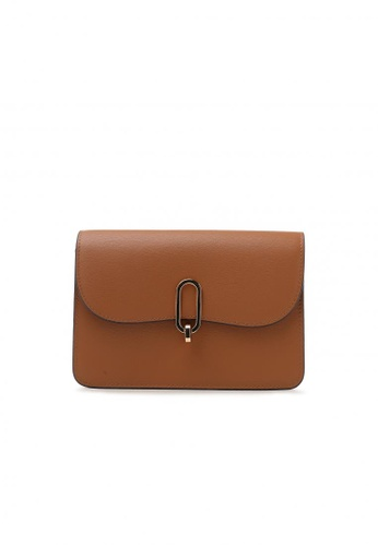 Pazzion brown Boxy Turn Lock Leather Bag C8558ACFDE7FF9GS_1