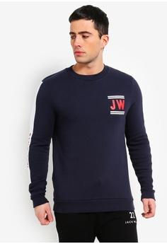 5bcd3d1024f Sizes XS S M L XL. Jack Wills navy Fracombe Sleeve Graphic Sweatshirt  2F692AA014854BGS_1