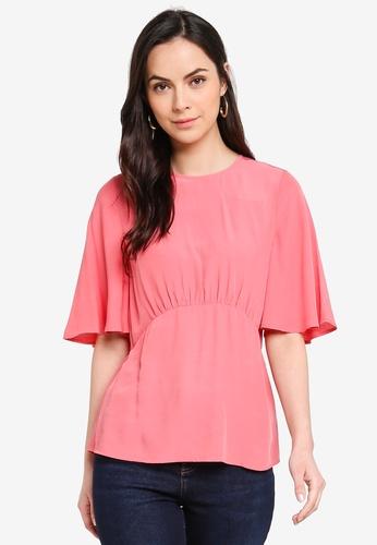 WAREHOUSE pink Angel Sleeve Top 0EC0FAA9F9CB41GS_1