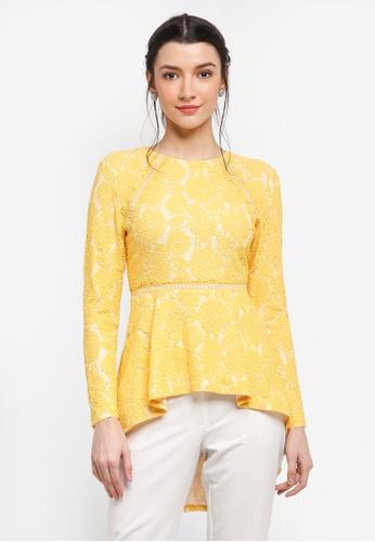Zalia yellow Lace Peplum Top 448CAAAFD514DFGS_1