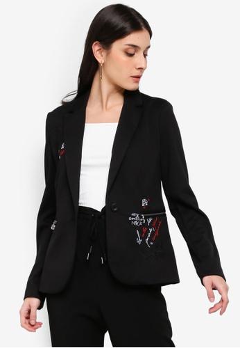 Desigual black Claris Embroidered Blazer C5D0DAA1727C87GS_1
