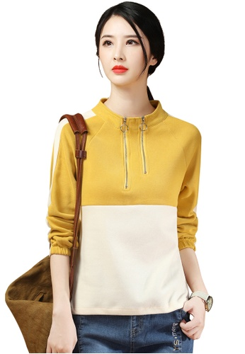 A-IN GIRLS white and yellow Casual Stand-Up Collar Color Block Sweater 3C09DAAC53B3CAGS_1