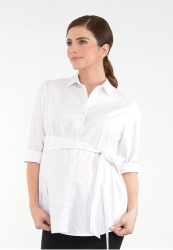 9months Maternity yellow White Tie Front Maternity Shirt 341A8AA454D21BGS_1