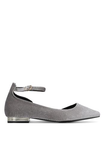 Something Borrowed grey Velvet D'Orsay Flats E055CSHA52F48CGS_1