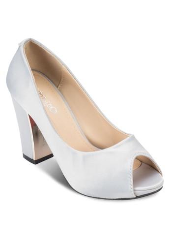 露趾布料粗跟鞋, 女鞋esprit part time, 魚口鞋