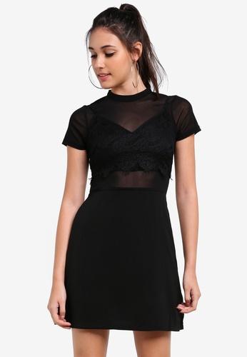 Something Borrowed black 2 In 1 Bralette Mesh Dress 0C8A1AA54135B6GS_1