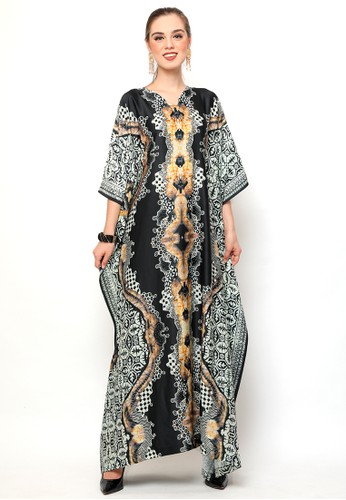 Kanzi by liza yahya black and white Kanzi Short Sleeve Batik Kaftan Black and White 17356AA4D802D4GS_1
