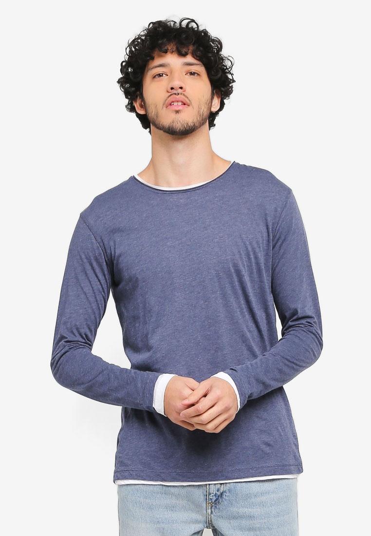 Medium T Shirt Cotton Blend Flecked Blue Man MANGO vTYwWq