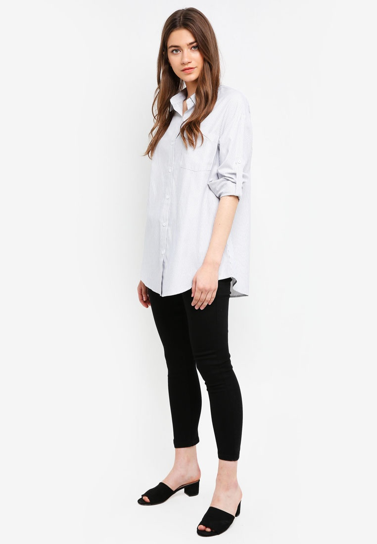 Shirt White Black Borrowed Oversized Something Printed Stripes 78wtqA8