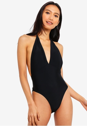 d70d6fce42 PINK N  PROPER black Basic Plunge Halter Tie-Front Swimsuit  E59CAUSF2DFABFGS 1