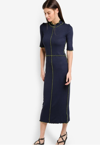 WAREHOUSE navy Mini Rib Frill Dress WA653AA50EBXMY_1