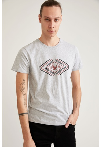 DeFacto grey Short Sleeve Round Neck Printed T-Shirt 68A64AA3595DD7GS_1