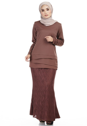 Daliya Kurung with Asymmetry Layered Top from Ashura in Brown