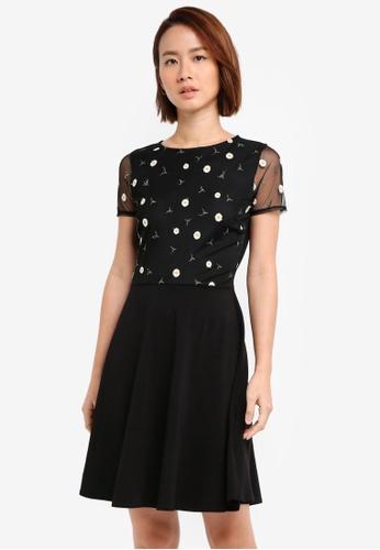Dorothy Perkins black Black Floral Mesh Dress F6E2BAAF17FC88GS_1
