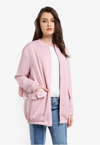 Zalia pink Long Line Bomber With Frill 91C19AA43EFCEAGS_1