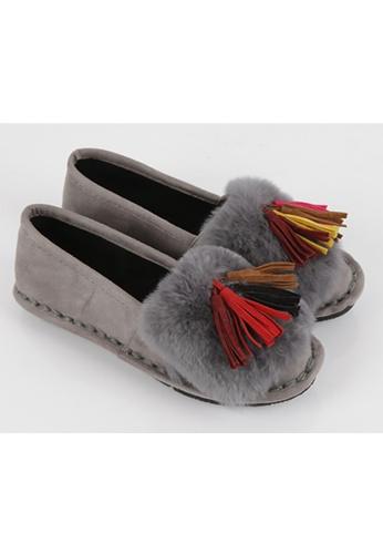 Oona's Closet grey Tassels  Rabbit Fur Slip On OO362SH04YITHK_1