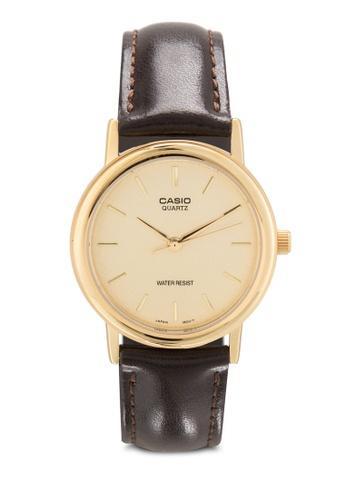 Casio brown Casio Men's Gold Dial Brown Leather Band Watch MTP-1095Q-9A CA843AC33MIGMY_1