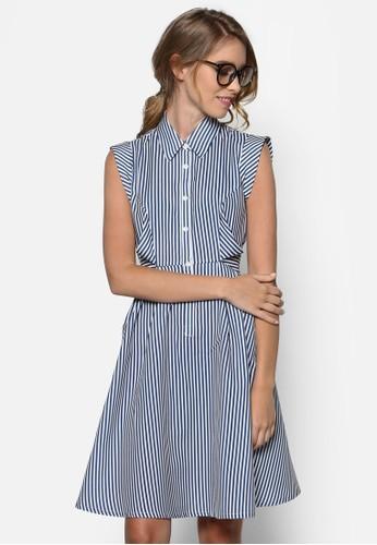 繫帶條紋襯衫洋裝,尖沙咀 esprit outlet 服飾, 洋裝