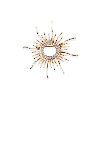 Glamorousky white Fashion and Simple Plated Gold Sun Brooch with Cubic Zirconia 5F034AC04C26A7GS_1