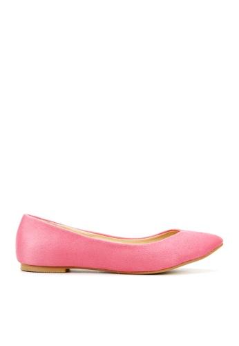 KissXXX 粉紅色 時尚心機V型淺口舒適平底休閒鞋 KI603SH09MS8TW_1