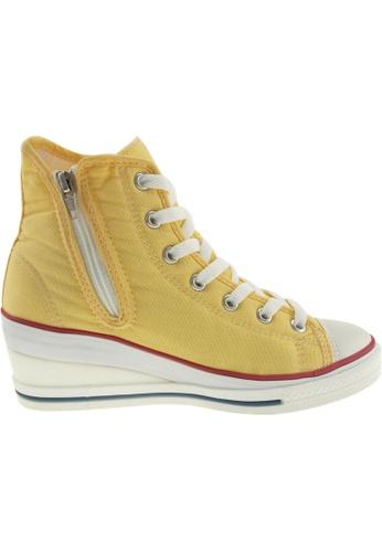 Maxstar / Maxstar Women's 7H Zipper Canvas Low Wedge Heel Sneakers US Women Size / White