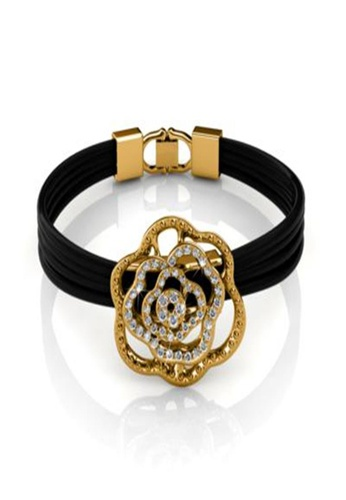 Her Jewellery black and yellow Her Jewellery Rosy Bracelet (Yellow Gold) with Premium Grade Crystals from Austria AB19CAC9576942GS_1
