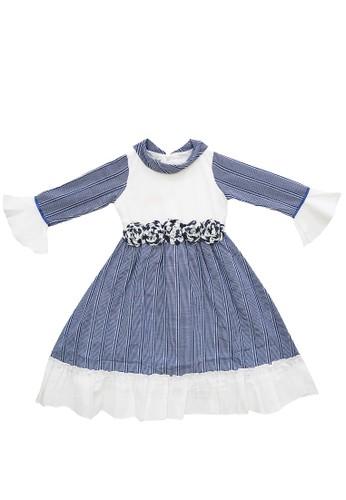 FIYORA blue Fahira Cotton Girl Dress Moslem Hijab set ABE9CKAAB902D1GS_1