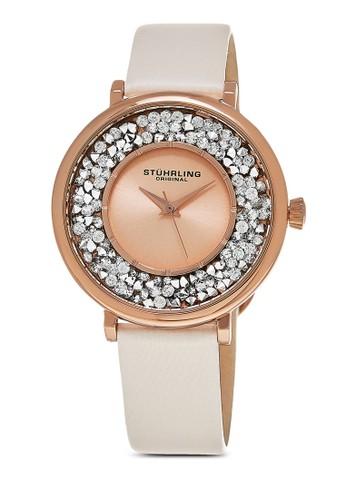 Vogesprit hkue 793 閃鑽圓框手錶, 錶類, 皮革錶帶