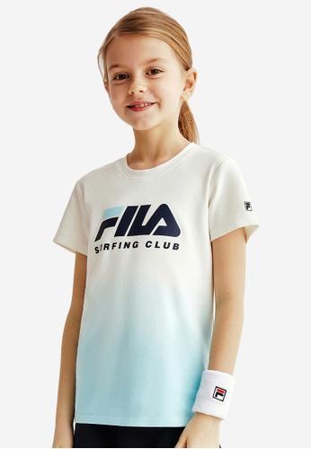 FILA white FILA KIDS FILA SURFING CLUB Logo Gradient Color Cotton T-shirt 8-13yrs 6DA2EKA47D04E1GS_1