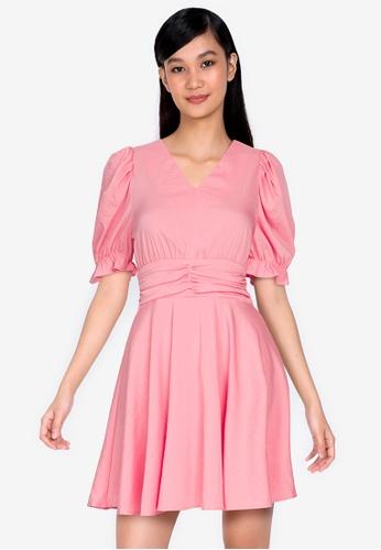 ZALORA BASICS 粉紅色 褶飾腰圍喇叭裙洋裝 D2751AA8FE6F87GS_1