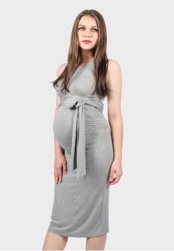 4907afb7fc3 9months Maternity grey Grey Nursing Self Tie Midi Dress 92D9DAAD4E0A6FGS_1