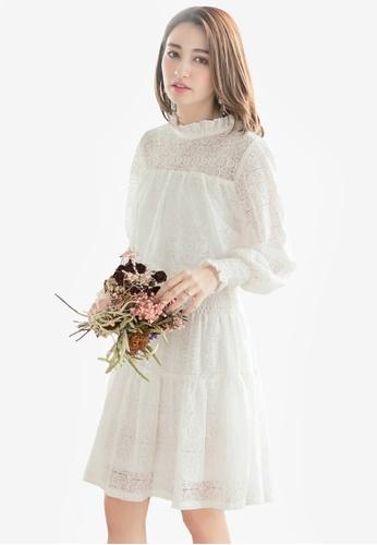 Yoco white Floral Laced Lining Dress 1A87DAA0314734GS_1