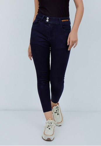 Odiva Woman blue ODIVA SKINNY JEANS WITH DOUBLE BUTTON - NAVY 0B942AA707A855GS_1
