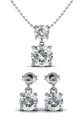 Her Jewellery silver Swarovski® Crystals -Jupiter Set (18K White Gold Plated) Her Jewellery HE581AC0RDG8MY_1