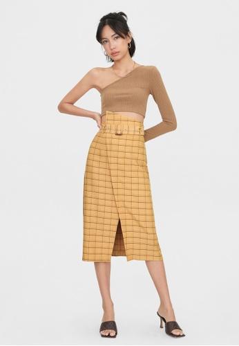 Pomelo beige Plaid Single Slit Skirt - Cream A557DAAC96BAE0GS_1