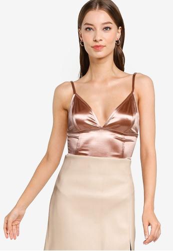 Miss Selfridge pink Nude Sleeveless Satin Bodysuit 9BA15AA25090EAGS_1