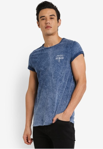 Burton Menswear London blue Blue Acid Wash Chest Print T-Shirt BU964AA0RH91MY_1