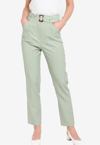 ZALORA WORK 綠色 Self Fabric Belt Pants E7776AA0A501B6GS_1