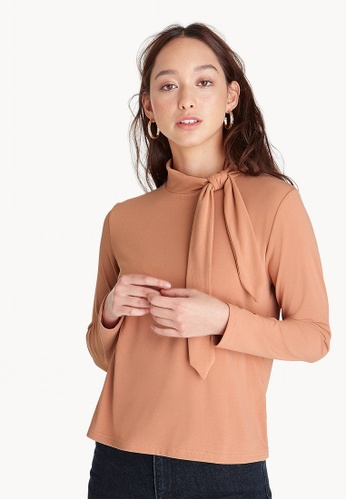 Pomelo pink High Neck Tie Loose Blouse - Peach B9E98AAFBCD558GS_1
