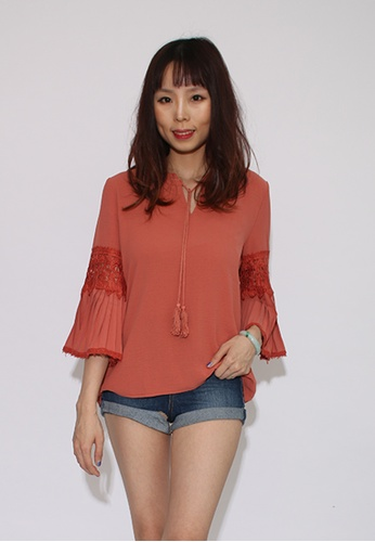 Seoul in Love red and orange Maris Blouse in Vintage Orange Red 8C241AA0A6D137GS_1