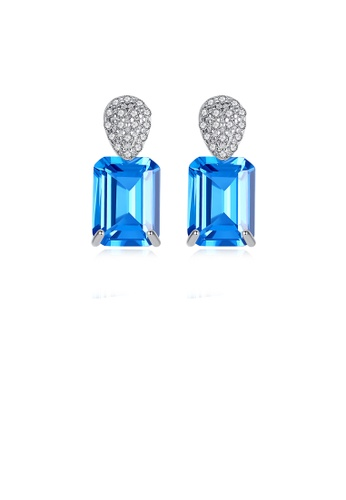 Glamorousky white 925 Sterling Silver Fashion Shining Geometric Stud Earrings with Blue Cubic Zirconia EB634ACC3F50E6GS_1