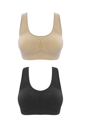 YSoCool black and beige Women's Seamless Racerback Sports Bra Set of 2 Pack YS154US12INVMY_1