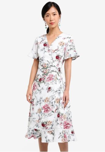 ZALORA white Midi Printed Wrapped Dress 25252AAB55F538GS_1