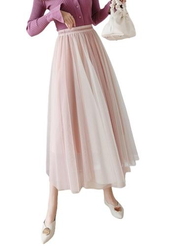 Halo pink Layered Net Yarn Skirt 7B422AAA9CC376GS_1