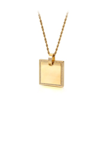 Glamorousky white Simple and Fashion Plated Gold Geometric Square 316L Stainless Steel Pendant with Cubic Zirconia and Necklace 37B1EAC22E3C54GS_1