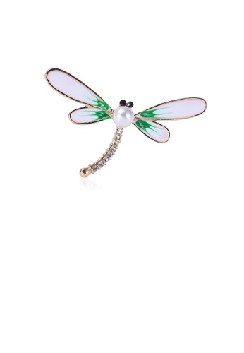 Glamorousky white Fashion and Simple Plated Gold Green Dragonfly Imitation Pearl Brooch with Cubic Zirconia 7216DAC89983A5GS_1