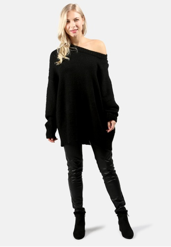 London Rag black Crew Neck Oversize Sweater with Ribbed bottom and Cuffs 419D5AACCD155CGS_1