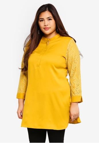 BYN yellow Plus Size Muslimah Blouse 6917AAA156F468GS_1