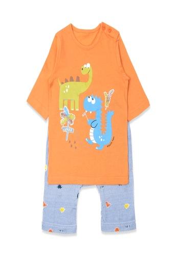 Organic mom orange Organic Cotton Joseph Dinosaur Lightweight Middle Length Sleeves Pjs 0ECC9KAAEFBA17GS_1